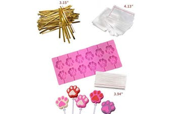(Cat Paw Pink) - Akingshop 12 Capacity Cat Paw Silicone Lollipop Mould Set, Sucker Moulds and Chocolate Hard Candy Mould with 50pcs Lollipop Sucker Sticks, Candy Treat Bags, Gold Ties. (Cat Paw Pink)