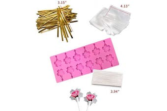 (Cherry Blossoms Pink) - Akingshop 12 Capacity Silicone Cherry Blossoms Lollipop Mould Set, Sucker Moulds and Chocolate Hard Candy Mould with 50pcs Lollipop Sucker Sticks, Candy Treat Bags, Gold Ties. (Cherry Blossoms Pink)