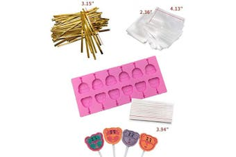 (Bear) - Akingshop 12 Capacity Silicone Bear Lollipop Mould Set, Sucker Moulds and Chocolate Hard Candy Mould with 50pcs Lollipop Sucker Sticks, Candy Treat Bags, Gold Ties. (Bear)