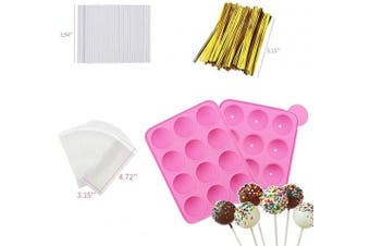 (12 Cavity Cake Pop) - Akingshop 12 Capacity Silicone Lollipop Mould Set, Sucker Moulds and Chocolate Hard Candy Mould with 50pcs Lollipop Sucker Sticks, Candy Treat Bags, Gold Ties. (12 Cavity Cake Pop)