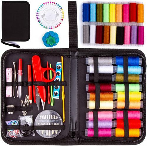 Safety Pins Stitch Ripper 140pc Accessories Mini Set in Zippered Soft Cloth Pouch with Thread and Needle MYFOXI Sewing Kit for Adults Travel Home Buttons Sew Repair Kids Zippered Organizer