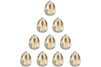 (18 * 13 MM, CHAMPAGNE) - Choupee Crystal Sew On Rhinestone with Silver Prong Setting, Drop Shaped (Champagne, 13 18 MM)