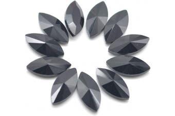 (15X7mm, Black) - Catotrem Horse Eye Shape Crystal Clear Glass Rhinestones Pointback Fancy Stones Inlay for Necklace Wedding Dress Decorations7x15mm(50pcs-Black)