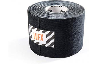 (5cm - width (1x roll), 1x Black) - #DoYourFitness® x World Fitness WFX 1x Kinesiology Tape [5m x 5cm LxW] - Waterproof Muscle Support, Physio Therapeutic Aid, Made of 100% Cotton - Skin-Friendly - in Different Sizes and Colours