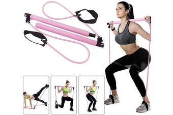 (Pink) - ABsuper Portable Pilates Bar Kit with Resistance Band Yoga Pilates Stick Yoga Exercise Bar with Foot Loop for Yoga,Stretch,Sculpt,Twisting,Sit-Up Bar Resistance Band