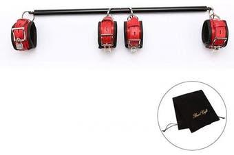 exreizst NEW Black Spreader Bar with Red Leather Adjustable Straps Set Flocking bag home yoga funny pull-bar