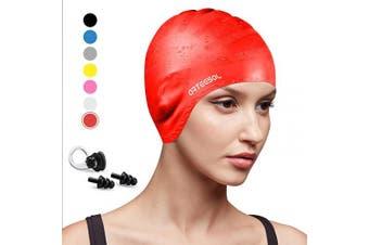 (red, 1 pcs) - arteesol Swimming Cap, Anti-Slip Silicone Swim cap Anti-Tear Ergonomic Design Cover Ears for Long Hair Adults and Kids