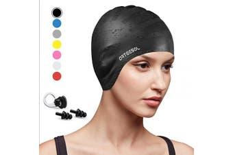 (Black, 1 pcs) - arteesol Swimming Cap, Anti-Slip Silicone Swim cap Anti-Tear Ergonomic Design Cover Ears for Long Hair Adults and Kids
