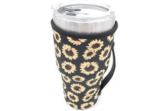(Sunflower) - Reusable Iced Coffee Cup Sleeve Neoprene Insulated Sleeves Cup Cover Holder Idea for 890ml - 950ml Tumbler Cup, Trenta Starbucks, Large Dunkin Donuts (Only Cup sleeves) (Sunflower)