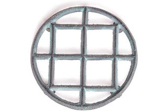 (13cm  Round) - Deconoor Cast Iron Vintage Round Trivet for Kitchen Top or Dining Table to Place Hot Dishes   Decorative Trivet, Pot Holders with Antique Pattern with Anti Slip Feet, 13cm