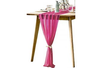 (Fuchsia) - BOXAN 80cm x 300cm Fuchsia Sheer Table Runner - Boho Romantic Tablecloth for 1.8m Table in Washable Polyester - Great for Buffet Table, Holiday Dinner, Wedding & Christmas Parties