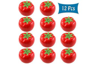 BcPowr 12PCS Fake Red Tomato Artificial Deep Red Tomato Artificial Lifelike Simulation Red Tomato Fake Fruit Home House Display Decoration for Still Life Paintings Kitchen Decor (Red, 8cm x 6.1cm )