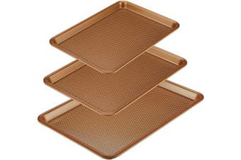 (3 Piece, Copper) - Ayesha Curry 47708 Nonstick Bakeware Set/Baking Pans - 3 Piece, Brown