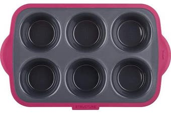 (6 Cup Large, Grey/Pink) - Trudeau Structure Pro Silicone Muffin Pan, 6 Cup Large, Grey/Pink