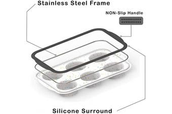 (1-PCS, White) - Non-Stick Silicone Muffin Pan With Reinforced Stainless Steel Frame Inside,6 Cup Regular Muffin Baking Mould, BPA Free,Dishwasher Safe,Aichoof