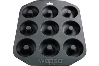 (Large, Dark Gray) - Wappa 1 Large Pan Super Non-Stick Silicone, Makes 9 Full Size Donuts, BPA Free, FDA & German LFGB Approved | Oven and Dishwasher Safe Doughnut Mould, Dark Grey