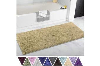 (50cm  x 120cm , Beige) - ITSOFT Non Slip Shaggy Chenille Soft Microfibers Runner Large Bath Mat for Bathroom Rug Water Absorbent Carpet, Machine Washable, 50cm x 120cm Beige