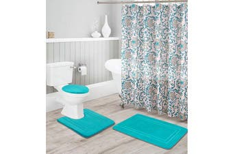 (Turquoise) - Better Home Style 16 Piece Solid Colour Modern Design Embossed Memory Foam None-Slip Bathroom Rug Set Includes Bath Rug, Contour Mat, Lid Cover, Shower Curtain and 12 Roller Ball Hooks (Turquoise)