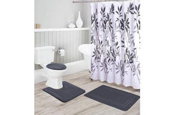 (Charcoal) - Better Home Style 16 Piece Solid Colour Modern Design Embossed Memory Foam None-Slip Bathroom Rug Set Includes Bath Rug, Contour Mat, Lid Cover, Shower Curtain and 12 Roller Ball Hooks (Charcoal)