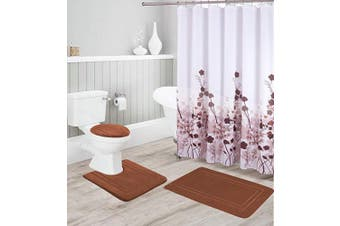 (Brown) - Better Home Style 16 Piece Solid Colour Modern Design Embossed Memory Foam None-Slip Bathroom Rug Set Includes Bath Rug, Contour Mat, Lid Cover, Shower Curtain and 12 Roller Ball Hooks (Brown)