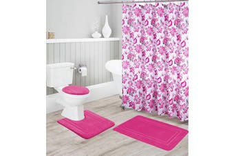 (Hot Pink) - Better Home Style 16 Piece Solid Colour Modern Design Embossed Memory Foam None-Slip Bathroom Rug Set Includes Bath Rug, Contour Mat, Lid Cover, Shower Curtain and 12 Roller Ball Hooks (Hot Pink)
