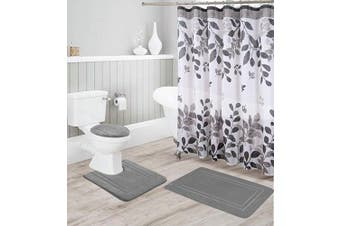 (Grey) - Better Home Style 16 Piece Solid Colour Modern Design Embossed Memory Foam None-Slip Bathroom Rug Set Includes Bath Rug, Contour Mat, Lid Cover, Shower Curtain and 12 Roller Ball Hooks (Grey)