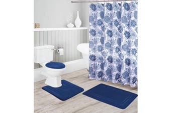 (Navy Blue) - Better Home Style 16 Piece Solid Colour Modern Design Embossed Memory Foam None-Slip Bathroom Rug Set Includes Bath Rug, Contour Mat, Lid Cover, Shower Curtain and 12 Roller Ball Hooks (Navy Blue)