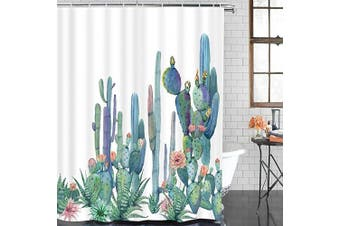 (190cm  L × 180cm  W, Multi) - Alishomtll Bathroom Shower Curtain Tropical Cactus Shower Curtains with 12 Hooks, Succulent Cactus Bath Curtain Durable Waterproof Fabric Shower Curtain