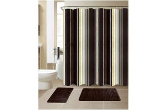 (Stripe Coffee) - All American Collection 15-Piece Bathroom Set with 2 Memory Foam Bath Mats and Matching Shower Curtain | Designer Patterns and Colours