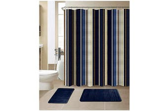 (Stripe Navy) - All American Collection 15-Piece Bathroom Set with 2 Memory Foam Bath Mats and Matching Shower Curtain | Designer Patterns and Colours (Stripe Navy)