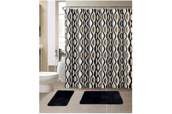 (Helix Black) - All American Collection 15-Piece Bathroom Set With 2 Memory Foam Bath Mats and Matching Shower Curtain | Designer Patterns and Colours (Helix Black)