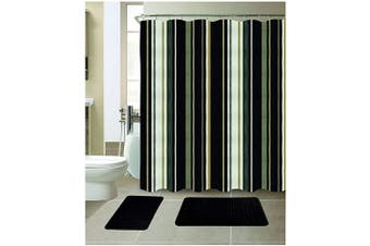 (Stripe Black) - All American Collection 15-Piece Bathroom Set with 2 Memory Foam Bath Mats and Matching Shower Curtain | Designer Patterns and Colours
