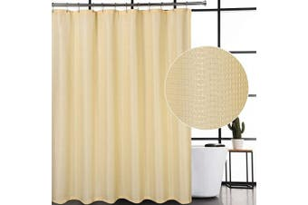 (72Wx72L, Yellow) - CAROMIO Waffle Woven Textured Polyester Fabric Shower Curtain for Bathroom with Grommets Top Design, Yellow, 180cm x 180cm
