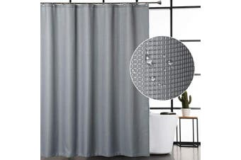 (72Wx78L, Grey) - CAROMIO Grey Shower Curtain 200cm Long, Waffle Woven Textured Polyester Fabric Shower Curtain for Bathroom Washable, Grey, 180cm x 200cm
