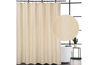 (72Wx72L, Ivory) - CAROMIO Shower Curtain Fabric, Waffle Woven Textured Polyester Fabric Shower Curtains for Bathroom Washable, Ivory, 180cm x 180cm