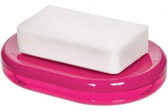 (Soap Dish, Magenta and White) - iDesign Finn Countertop Bar Dish, Plastic Soap Holder for Bathroom, Shower, Vanity, Magenta and White