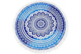 (114 Blue Pattern) - Polly House Large Round Picnic Mat Beach Towel Blanket with Tassels Ultra Soft Super Water Absorbent Towel 150cm Across Multifunctional Purposes Blanket, Wash Machine Easy wash (114 Blue Pattern)