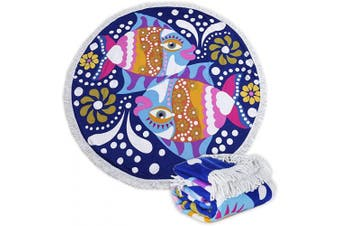 (22 Double Fish) - Large Round Picnic Mat Beach Towel Blanket with Tassels Ultra Soft Super Water Absorbent Multi-Purpose Towel 150cm across Multifunctional Purposes Blanket, Wash machine easy wash (22 Double Fish)