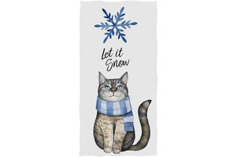 (Cat With Scarf) - Pfrewn Cat with Scarf Blue Snowflake Hand Towels 41cm x 80cm Bathroom Towel, Let is Snow Winter Ultra Soft Highly Absorbent Small Bath Towel for Hand,Face,Gym and Spa Christmas Bathroom Decor