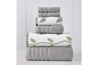 (Ash Grey) - Amrapur Overseas 6-Piece Yarn Dyed Organic Vines Jacquard/Solid Ultra Soft 500GSM 100% Combed Cotton Towel Set [Ash Grey]