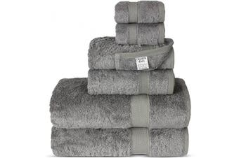 (6-Piece Towel Set, Gray) - Chakir Turkish Linens Luxury Ultra Soft Bamboo 6-Piece Towel Set - Soft, Absorbent and Eco-Friendly (Grey)