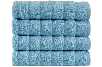 (4 pcs Hand Towel Set, Sky Blue) - Bagno Milano Turkish Spa Towel Set, Non-GMO Cotton | Velvety Soft & Ultra-Absorbent | 4-pc Hand Towel Set, Sky Blue