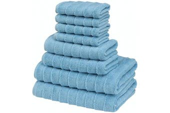 (8 pcs Towel Set, Sky Blue) - Bagno Milano Turkish Spa Towel Set, Non-GMO Cotton | Velvety Soft & Ultra-Absorbent | 8-pc Towel Set, Sky Blue
