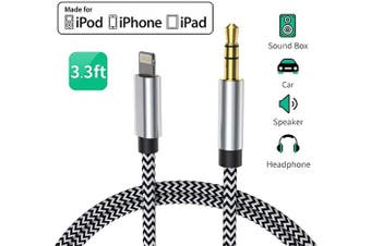 (Silverblack-CJ7) - Aux Cable Audio Cord for iPhone to 3.5mm Car Premium Auxiliary to Home Stereo/Headphone/Car Stereo/Speaker/Adapter Nylon Braided for iPhone 11/X/XS/XR/8/8P/7/7P Support All iOS (1m) - Silverblack