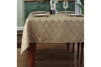 (Rectangle/Oblong, 150cm  x 300cm  (10-12 Seats), Gold) - Jacquard Tablecloth Flower Pattern Polyester Table Cloth Dust-Proof Wrinkle Resistant Soft Table Cover for Kitchen Dinning Tabletop Decoration (Rectangle/Oblong, 150cm x 300cm (10-12 Seats), Gold)