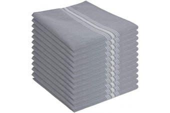 (46cm  x 60cm ., Grey Reverse) - Arkwright Bistro Dinner Napkins Bulk Pack of 12, Professional Restaurant Quality Kitchen Dish Towels (46cm x 60cm ) (46cm x 60cm , Grey Reverse)