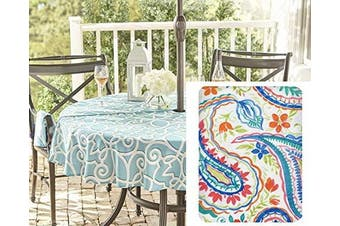 (180cm  Zipper Umbrella Round) - Newbridge Boho Chic Paisley Print Vinyl Flannel Backed Tablecloth, Shabby Chic Bright Paisley Waterproof Patio, Picnic, Kitchen, BBQ, Indoor Outdoor Tablecloth, 180cm Zippered Umbrella Round