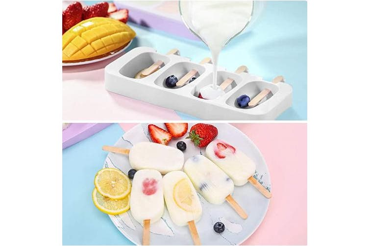 (One Size, White) - Ozera Silicone Popsicle Moulds-4 Cavities Homemade Oval Pop Maker for DIY Ice Cream, Come with 50 Wooden Sticks & Popsicle Bags, One Size, White