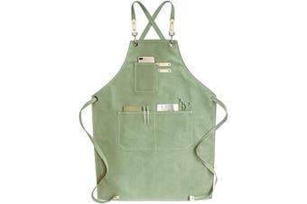 (Light Mint) - Chef Apron, Cotton Canvas Cross Back Adjustable Apron with Pockets for Women and Men, Kitchen Cooking Baking Bib Apron, Adjustable Strap and Large Pockets,Canvas, M-XXL- Light Mint