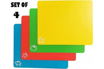 1 Click Flexible Plastic Cutting Board Mats with Food Icons & EZ-Grip Waffle Back, Set of 4 for Kitchen & Bar